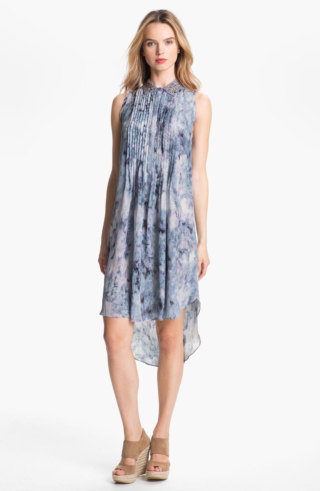 Main Image - Rebecca Taylor Pintuck Silk Shirtdress