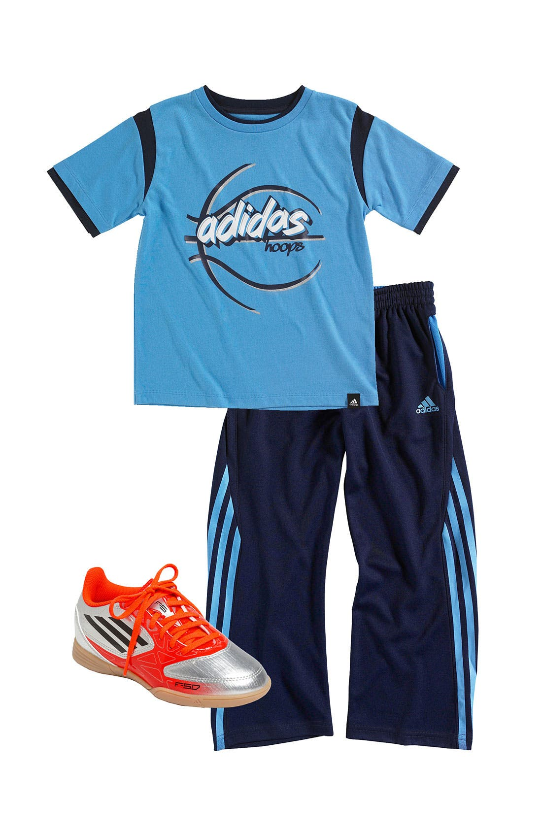 Alternate Image 1 Selected - adidas T-Shirt, Pants & Sneaker (Little Boys)