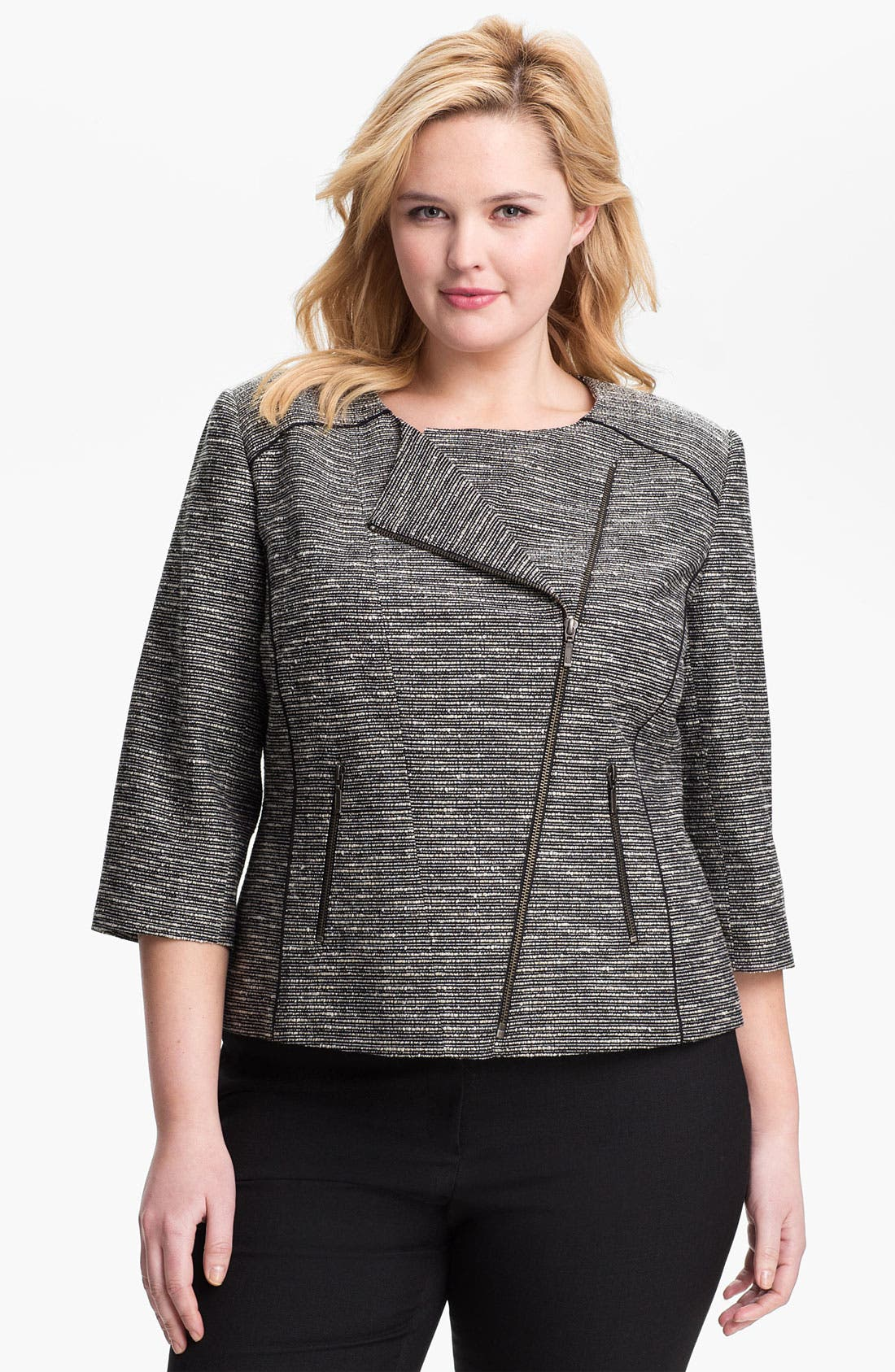 Main Image - Sejour Tweed Moto Jacket (Plus Size)
