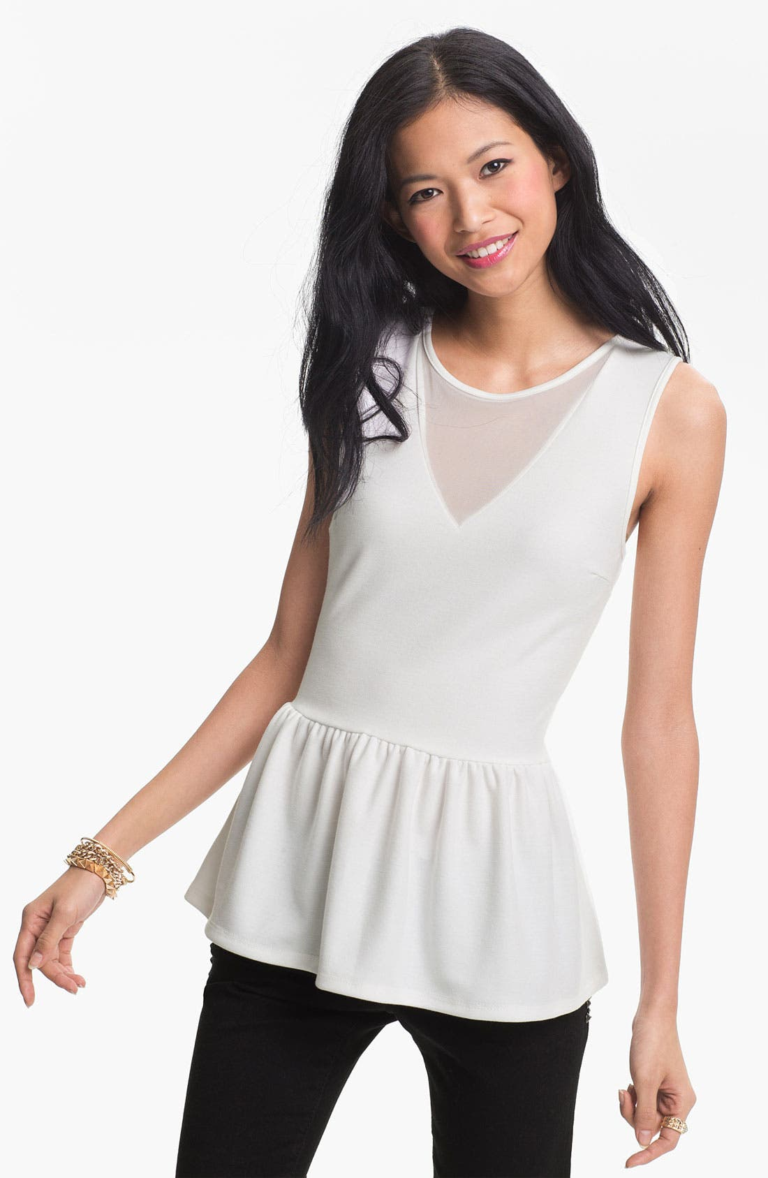 Alternate Image 1 Selected - Soprano Mesh Inset Peplum Top (Juniors)