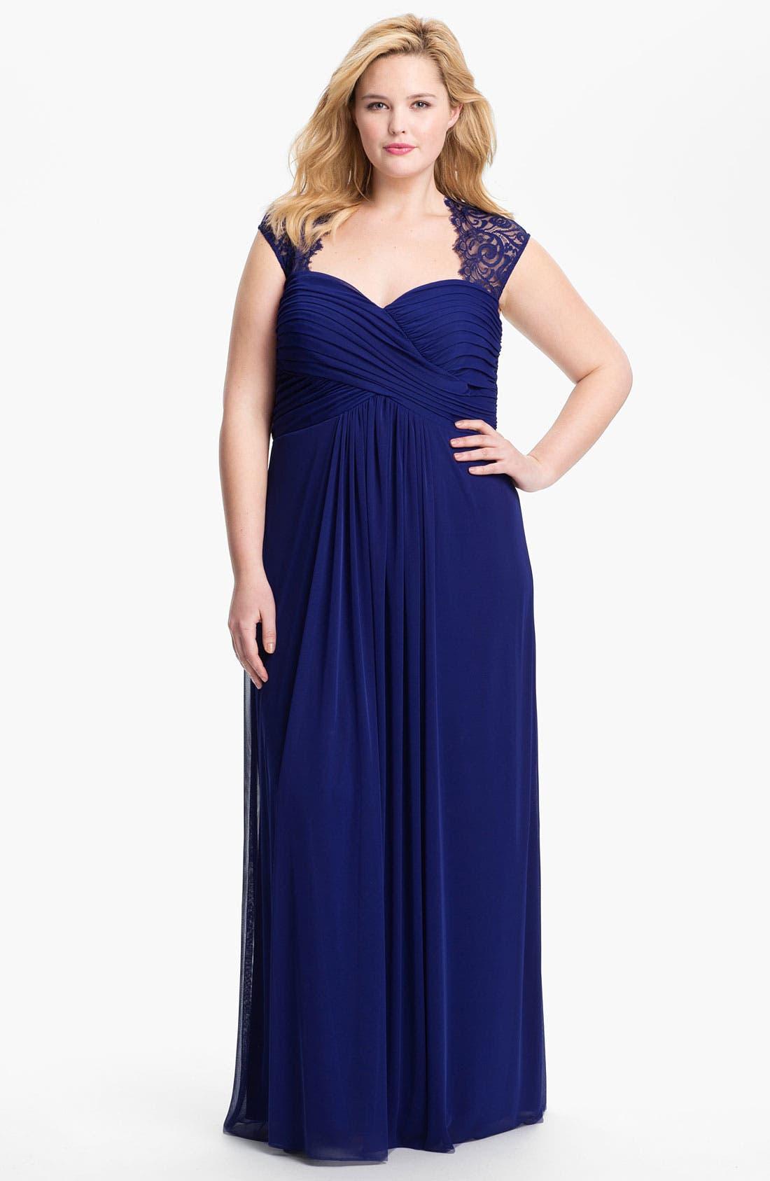 Main Image - Xscape Lace Cap Sleeve Mesh Gown (Plus)