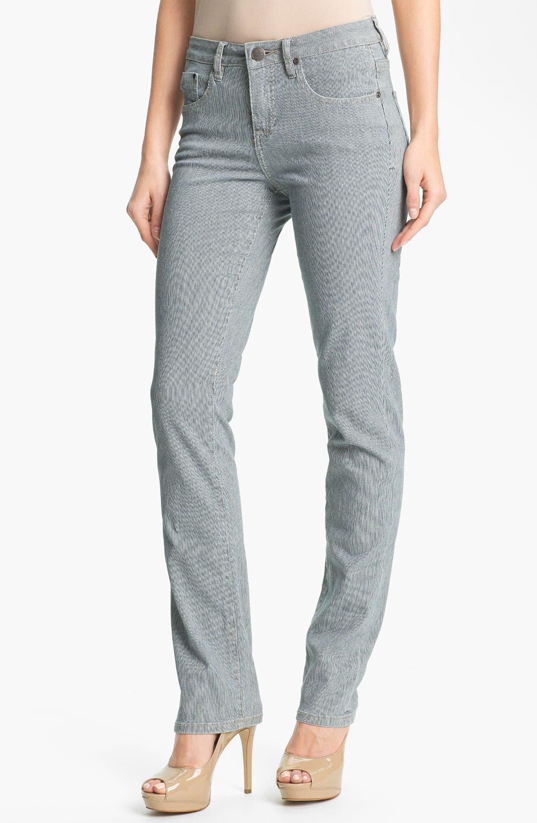 Alternate Image 1 Selected - Jag Jeans 'Jackson' Stripe Straight Leg Jeans (Petite)