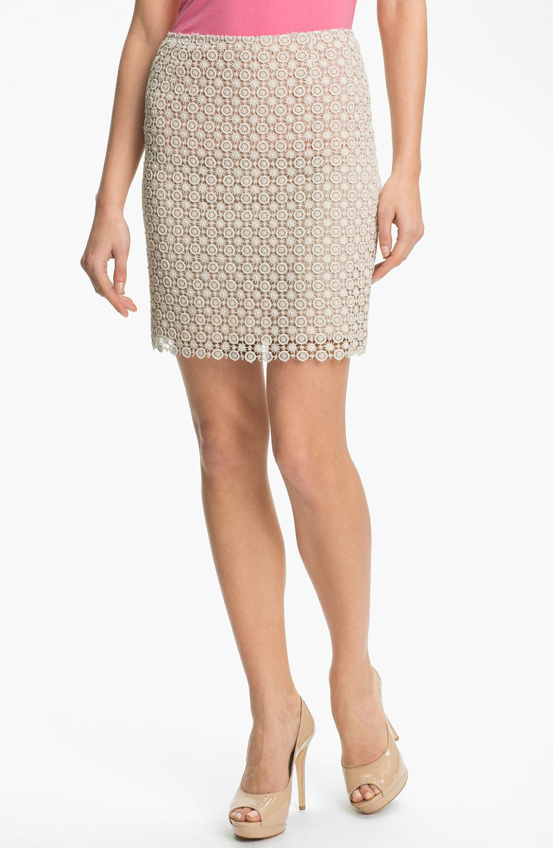 Alternate Image 1 Selected - Vince Camuto Scallop Hem Lace Skirt
