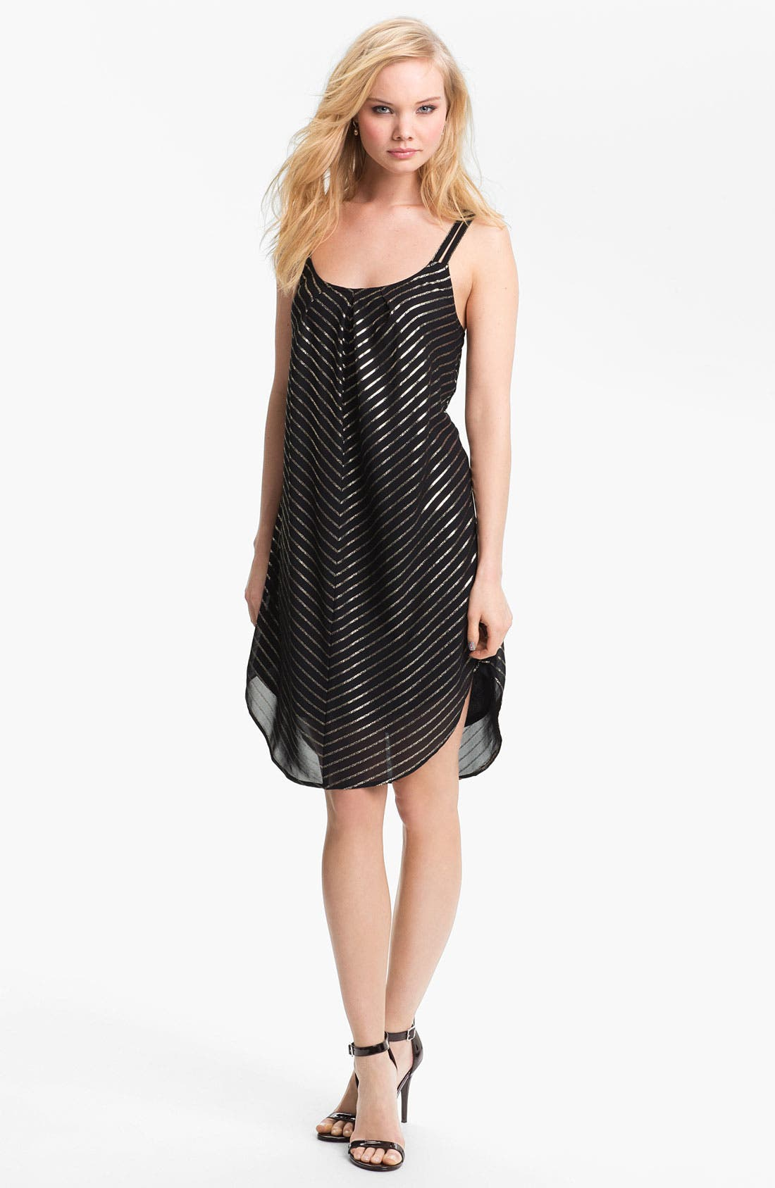 Alternate Image 2  - Mimi Chica Metallic Stripe Trapeze Slip Dress (Juniors)