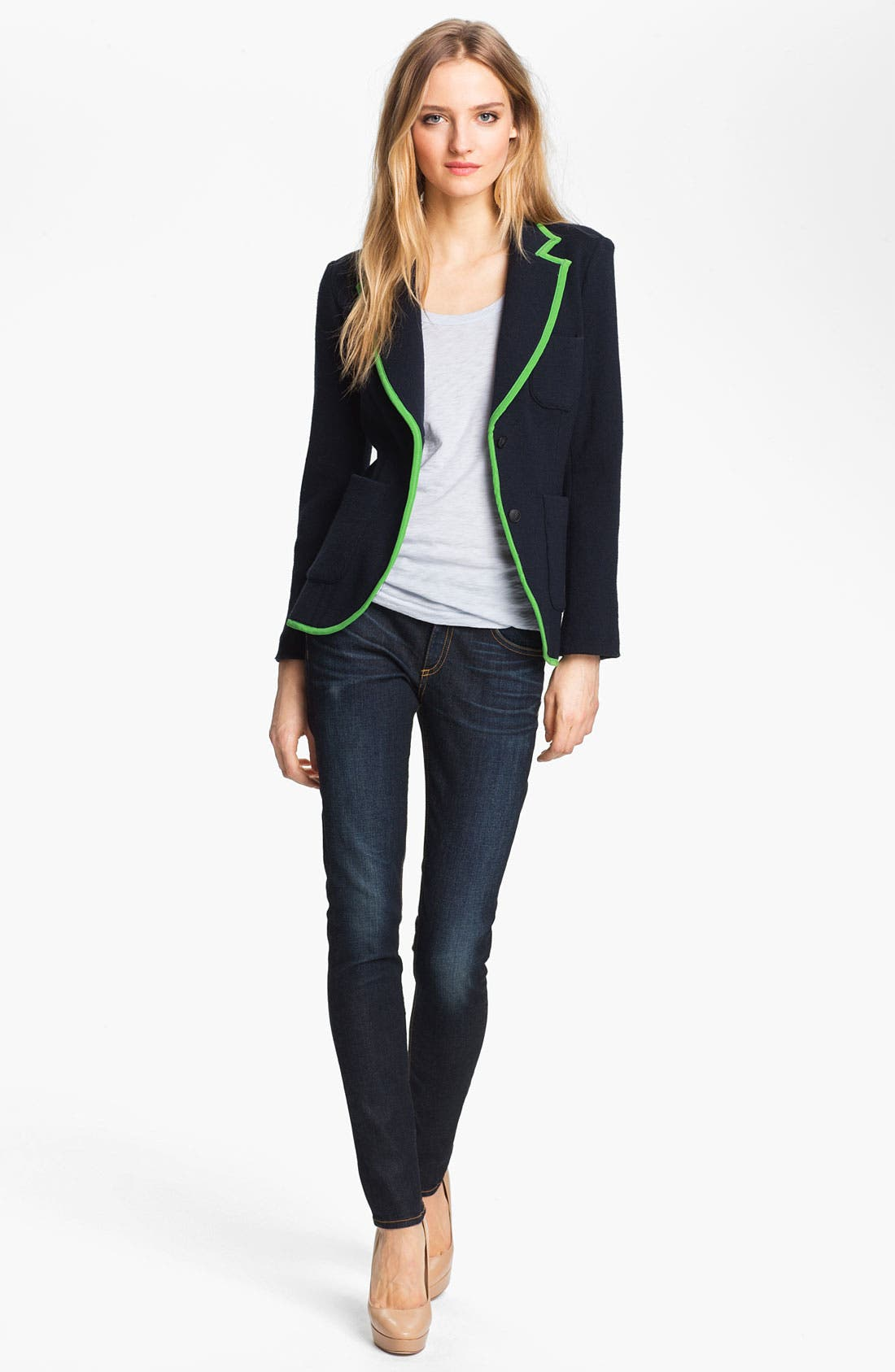 Alternate Image 2  - rag & bone 'Bromley' Contrast Trim Wool Blazer