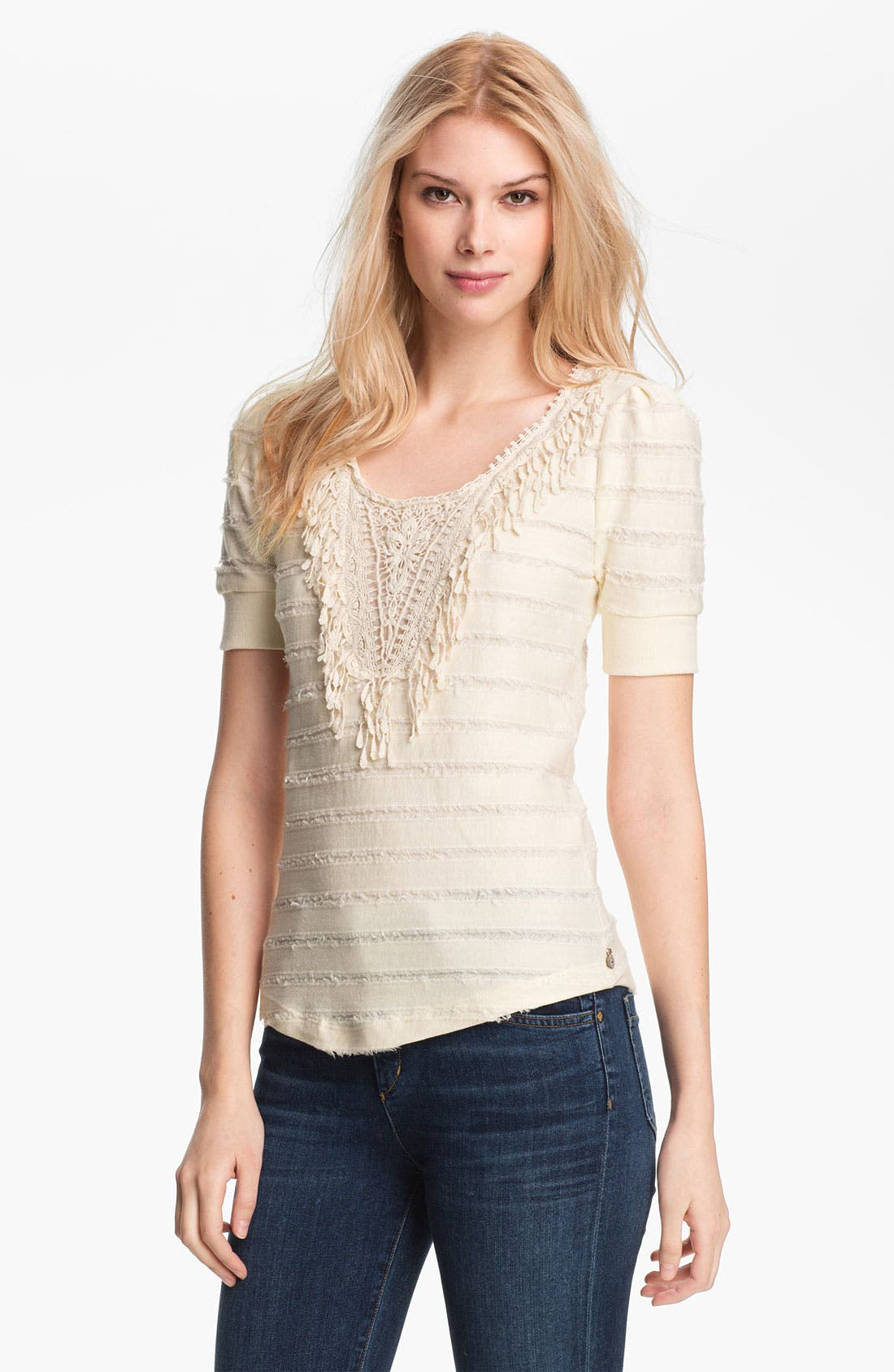 Alternate Image 1 Selected - Maison Scotch Appliqué Bib Fringe Stripe Sweatshirt
