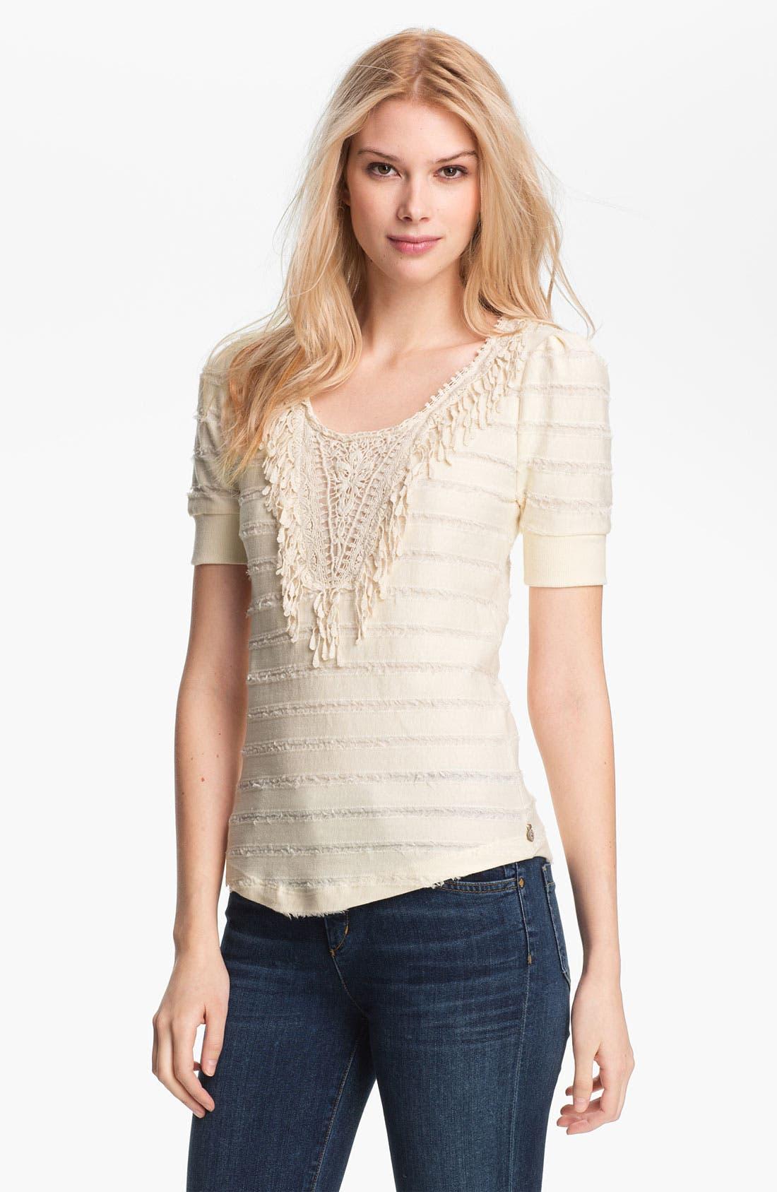 Main Image - Maison Scotch Appliqué Bib Fringe Stripe Sweatshirt