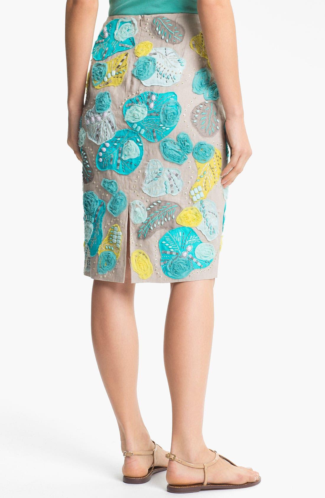 Alternate Image 2  - Lafayette 148 New York Embellished Linen Skirt