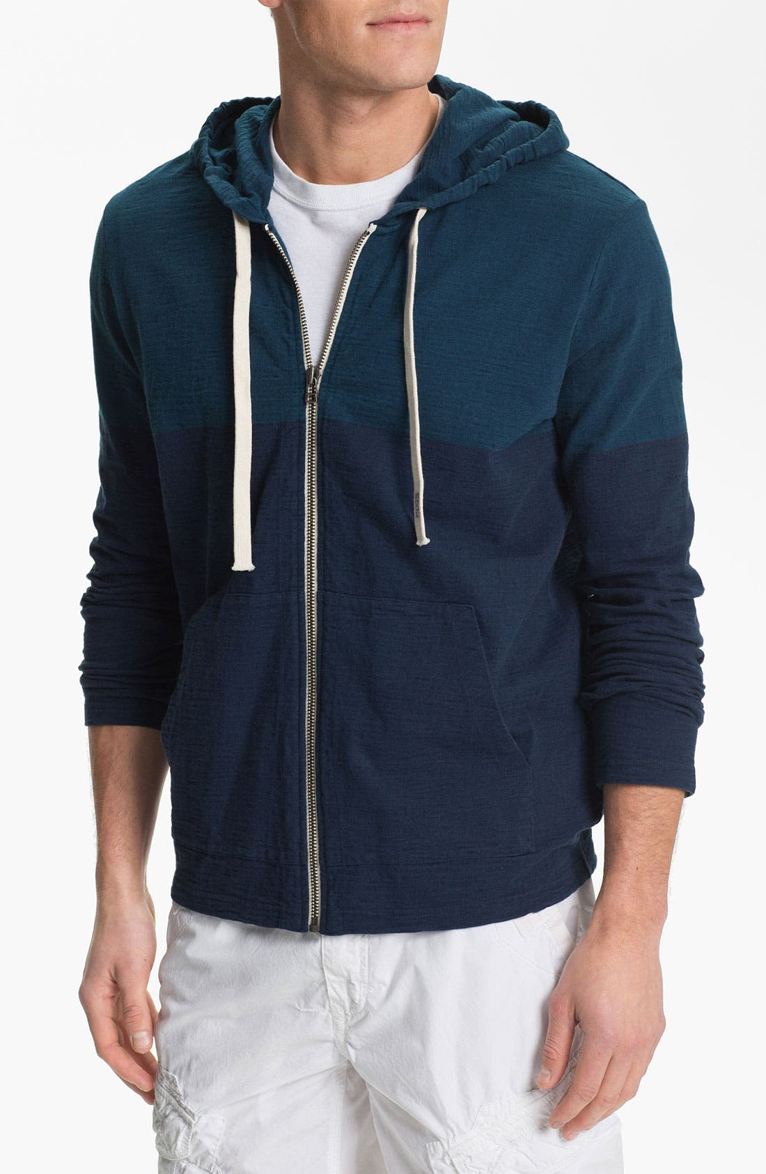 Alternate Image 1 Selected - Edun Slub Colorblock Zip Hoodie