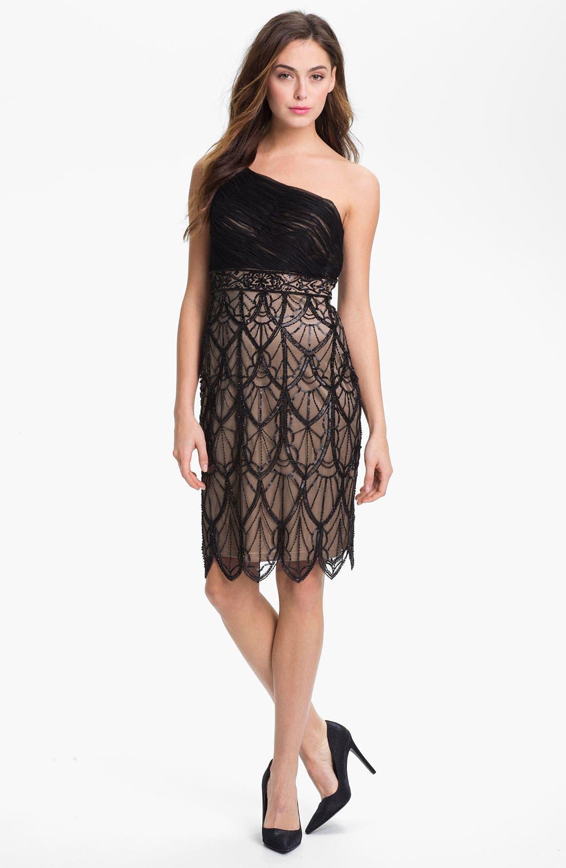 Alternate Image 1  - Sue Wong Embellished One Shoulder Mesh Dress