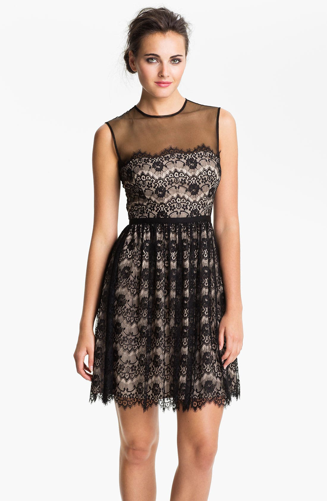Alternate Image 1 Selected - Maggy London Lace Fit & Flare Dress (Petite)