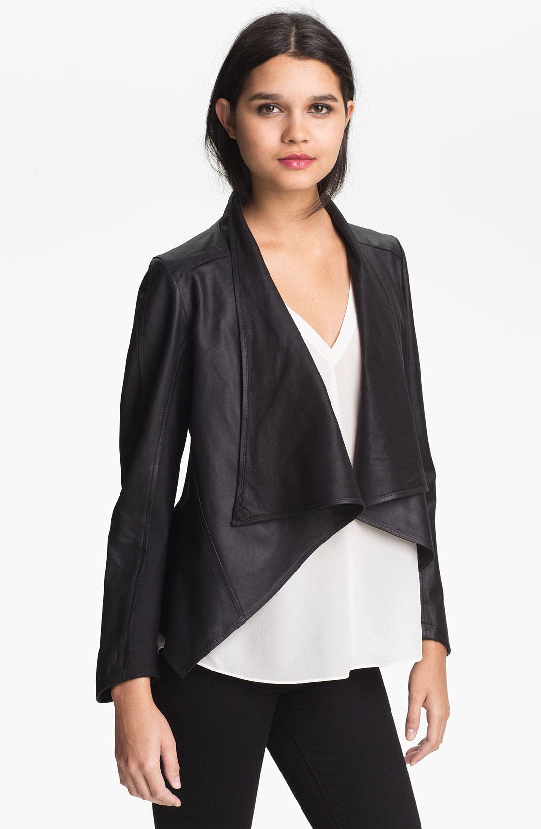 Alternate Image 1 Selected - LaMarque Drape Collar Leather Jacket