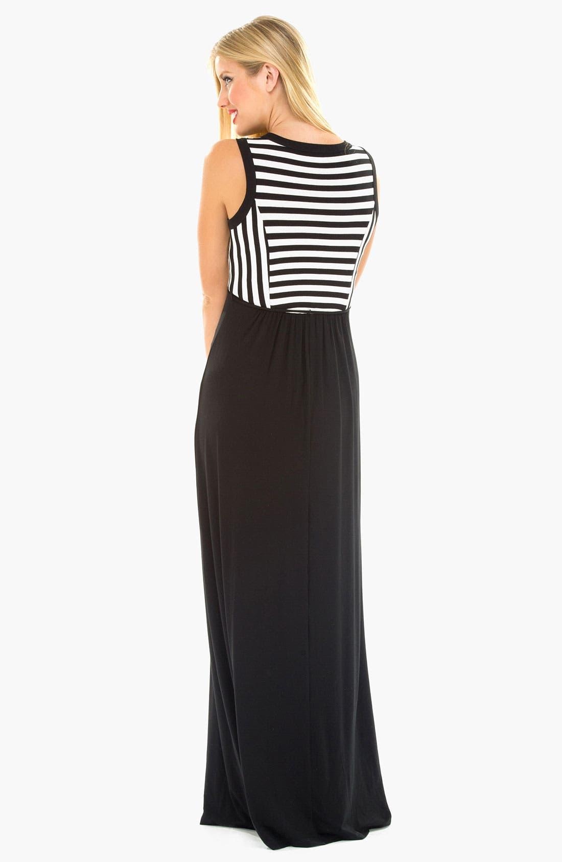 Alternate Image 3  - Olian Stripe Knit Maternity Maxi Dress