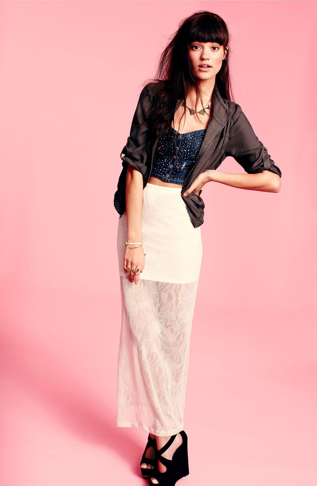 Alternate Image 3  - h.i.p. Half Sheer Lace Maxi Skirt (Juniors)