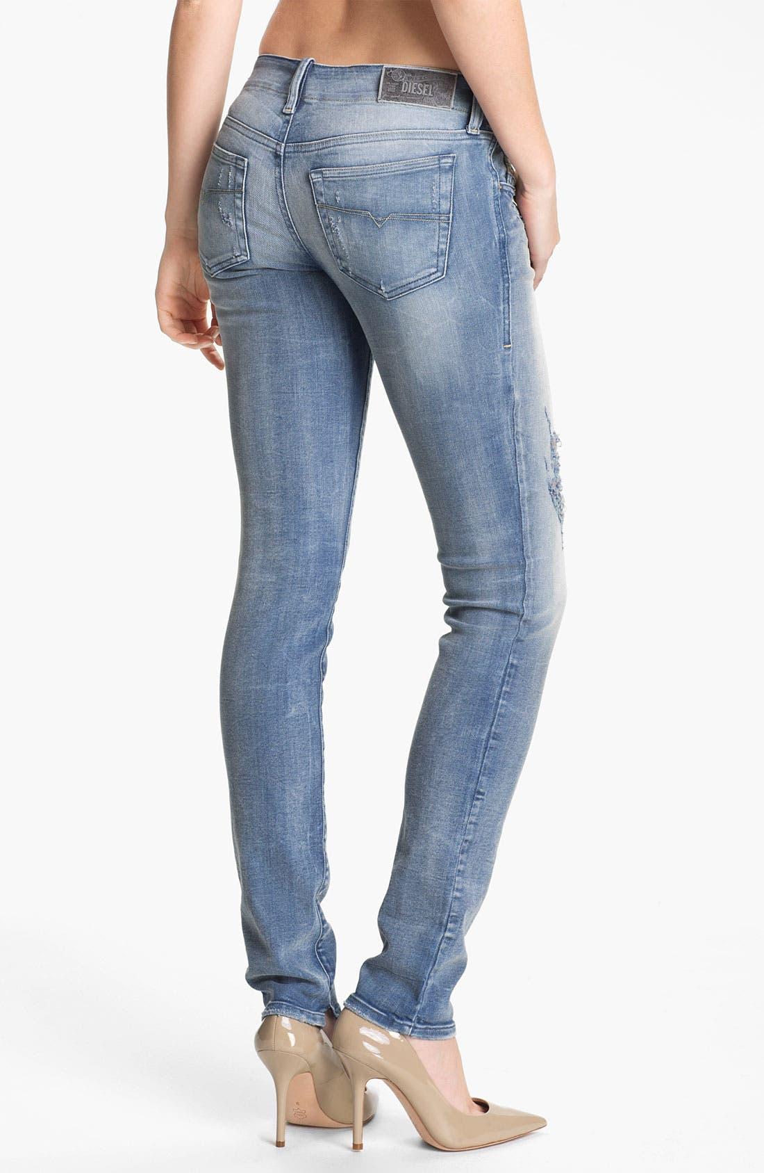 Alternate Image 2  - DIESEL® 'Grupee' Distressed Denim Skinny Jeans (Blue Distressed)