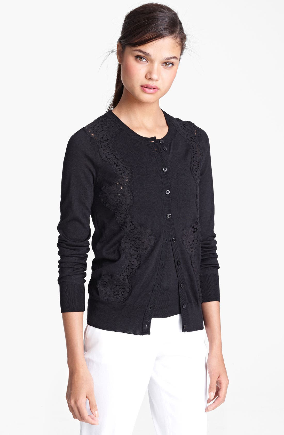 Alternate Image 1 Selected - Dolce&Gabbana Lace Detail Silk Cardigan