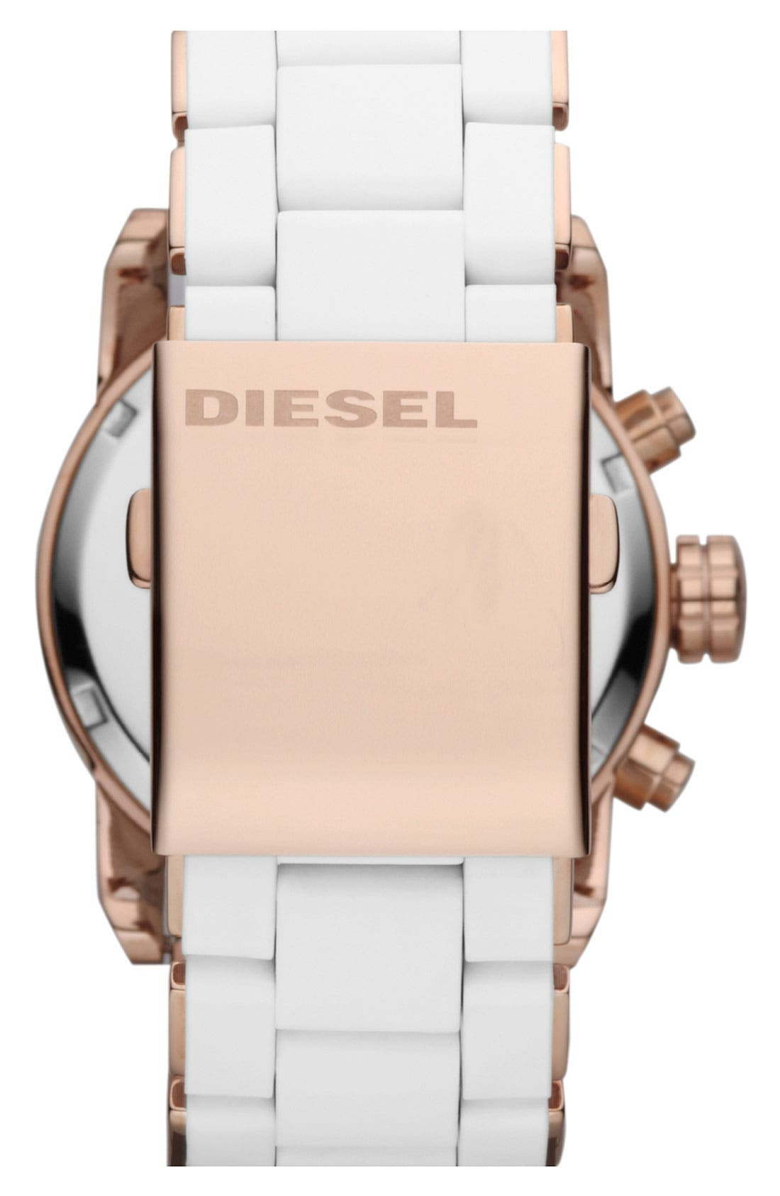 Alternate Image 3  - DIESEL® 'Franchise' Chronograph Silicone Bracelet Watch, 42mm