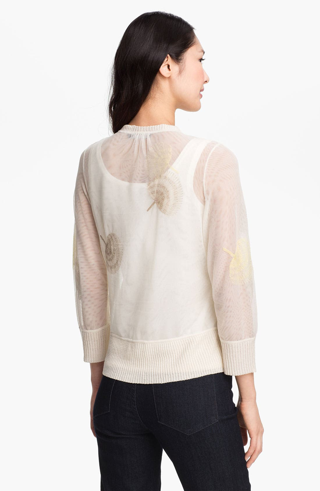 Alternate Image 2  - Nic + Zoe Fan Print Sheer Mesh Cardigan