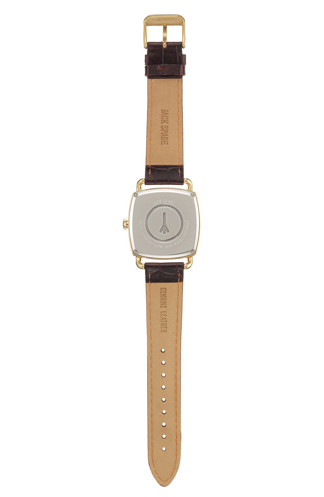Alternate Image 2  - Jack Spade 'Sutherland Pillow' Leather Strap Watch, 38mm