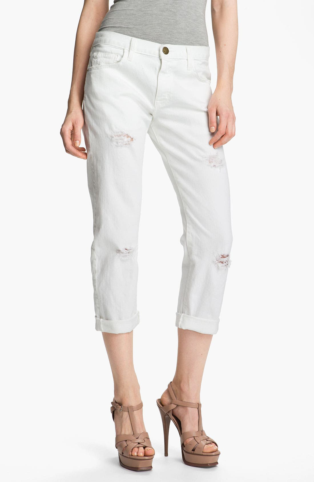 Alternate Image 1 Selected - Current/Elliott 'The Boyfriend Jean' Stretch Jeans (Sugar)