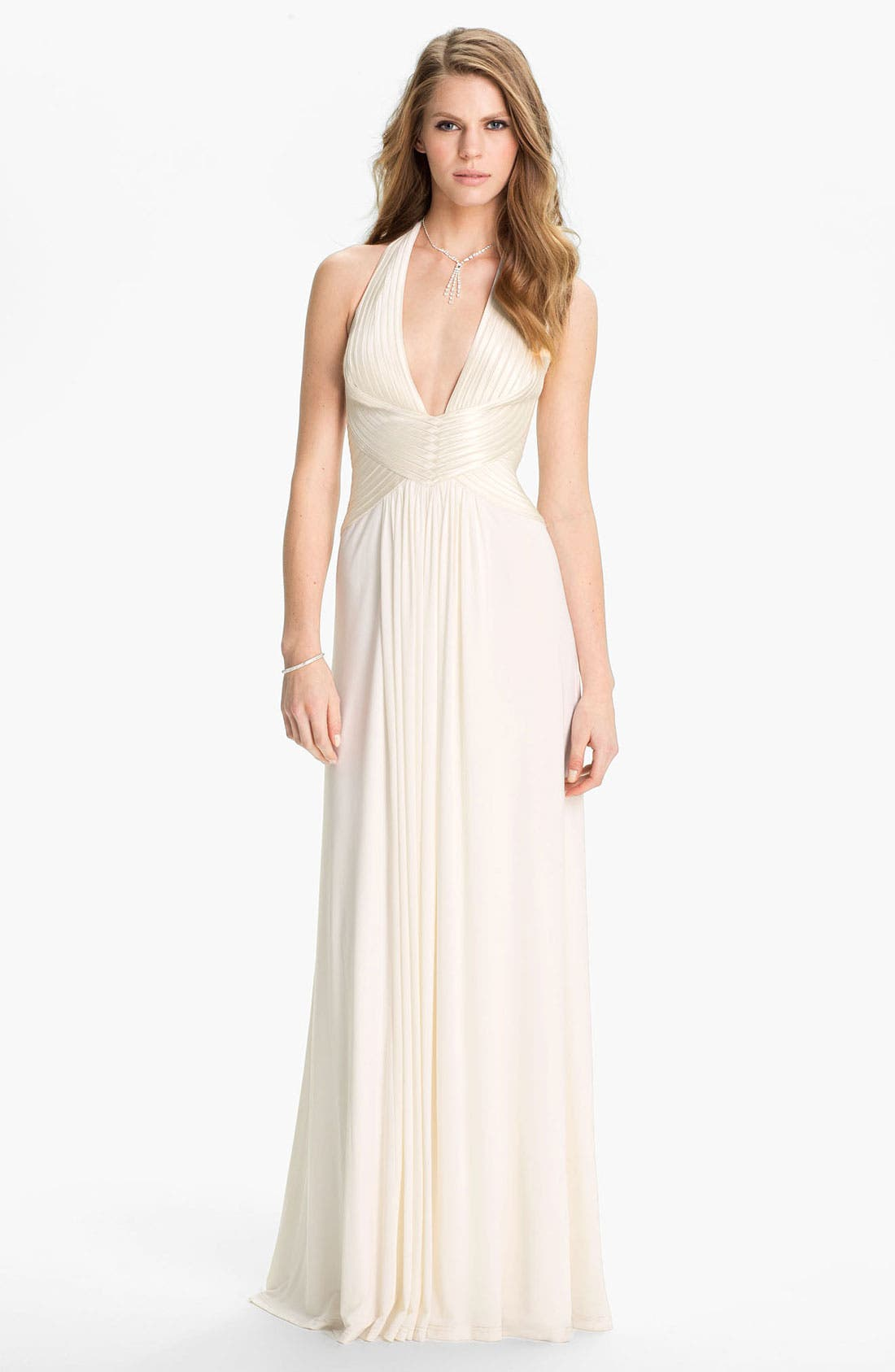 Alternate Image 1 Selected - BCBGMAXAZRIA 'Anitra' Satin & Jersey Halter Gown
