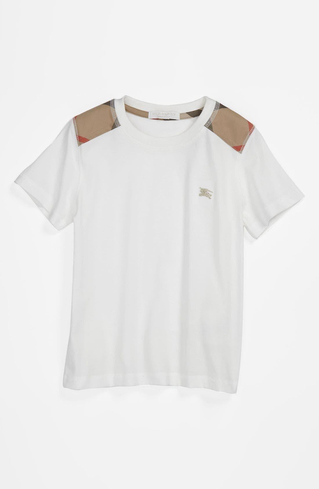 Main Image - Burberry Shoulder Check T-Shirt (Little Boys & Big Boys)