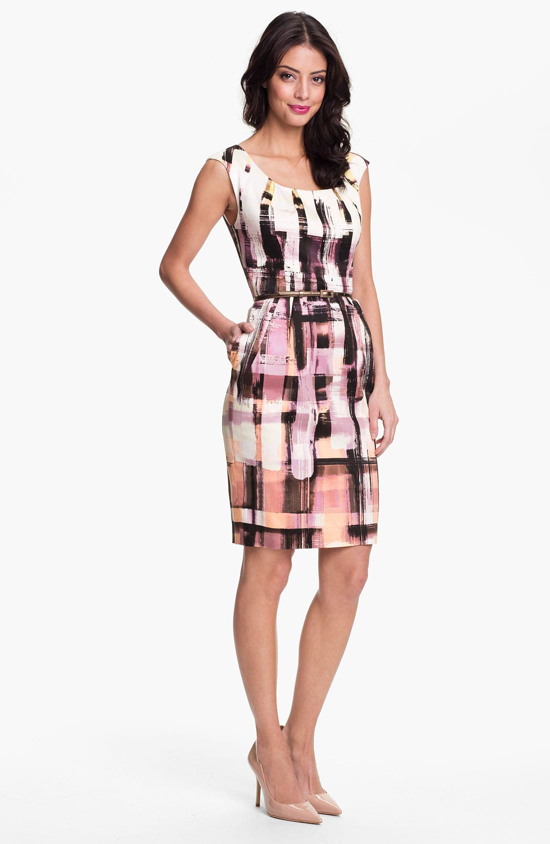 Main Image - Maggy London Plaid Print Belted Sheath Dress