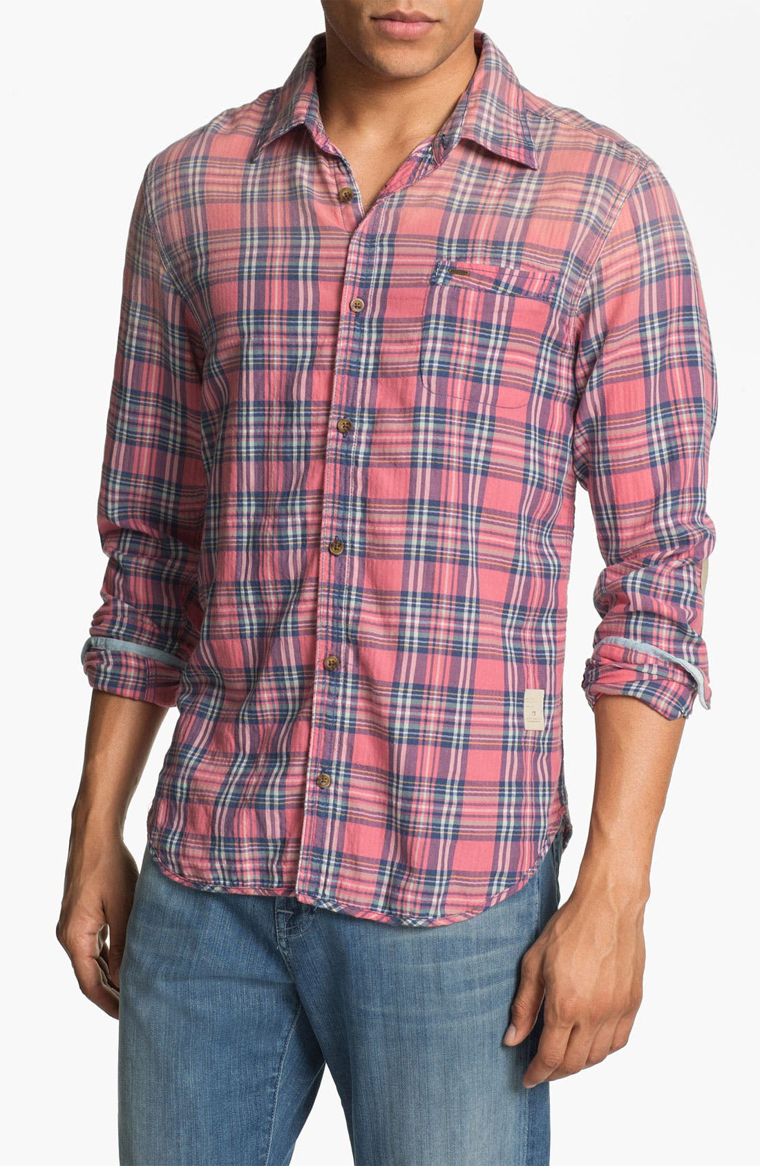 Main Image - Scotch & Soda Herringbone Plaid Shirt