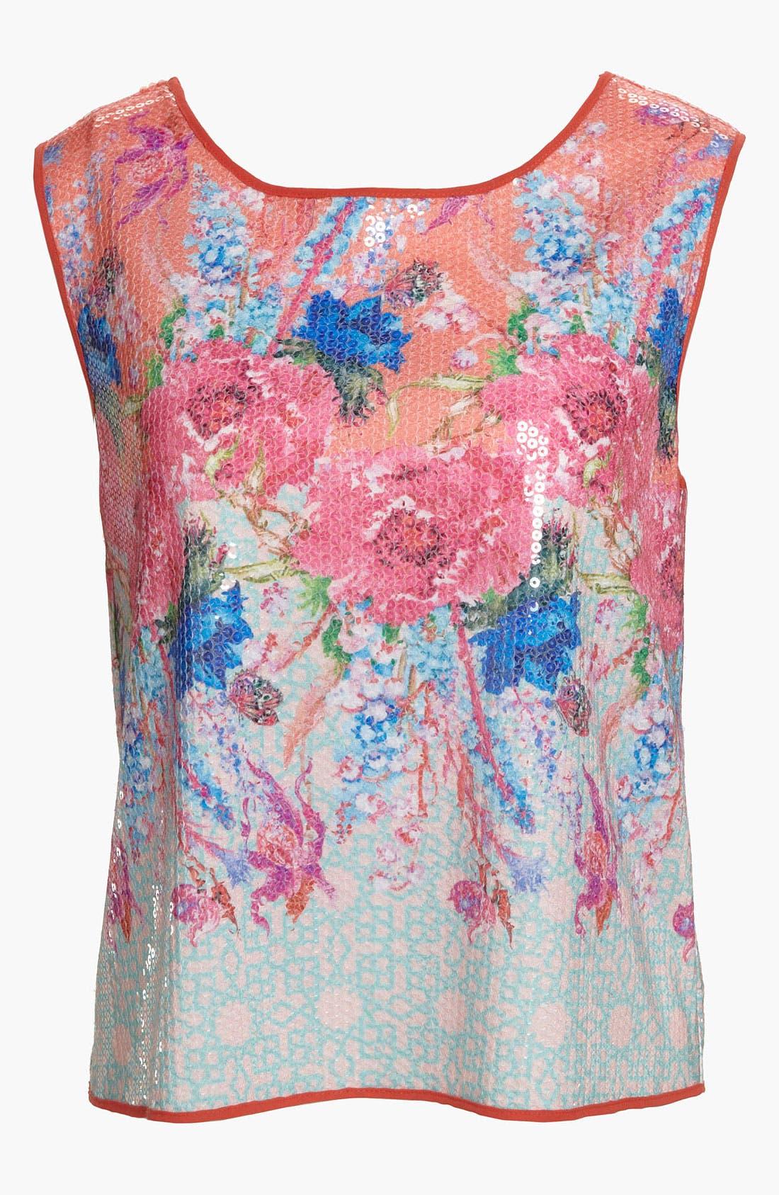 Main Image - Dream Daily 'Vermilion Flowers' Sequin Crop Top