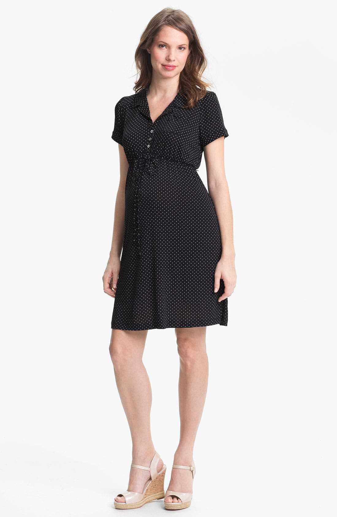 Alternate Image 1 Selected - Japanese Weekend Jersey Maternity Shirtdress