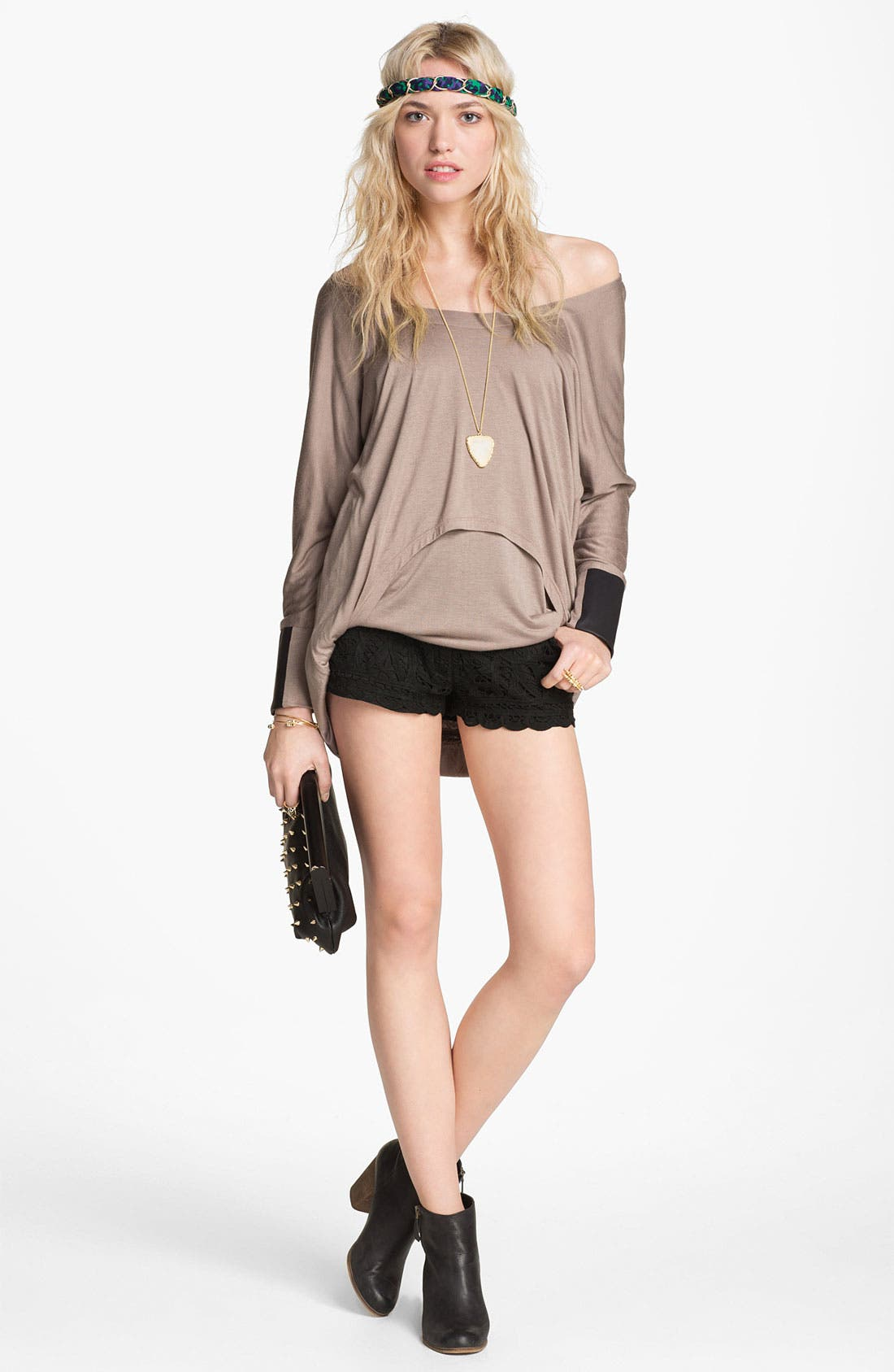 Alternate Image 2  - ASTR Crochet Front Faux Leather Shorts