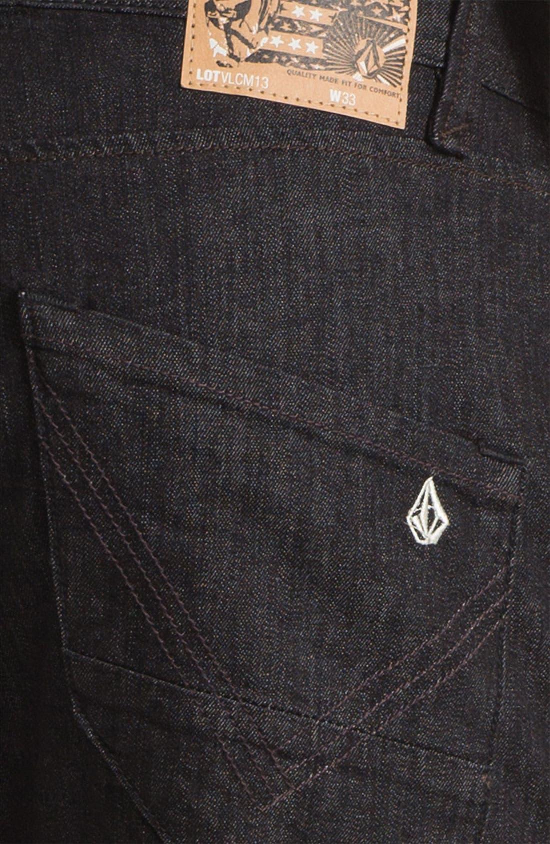 Alternate Image 4  - Volcom 'Nova' Slim Straight Leg Jeans (Black Rinse) (Online Only)