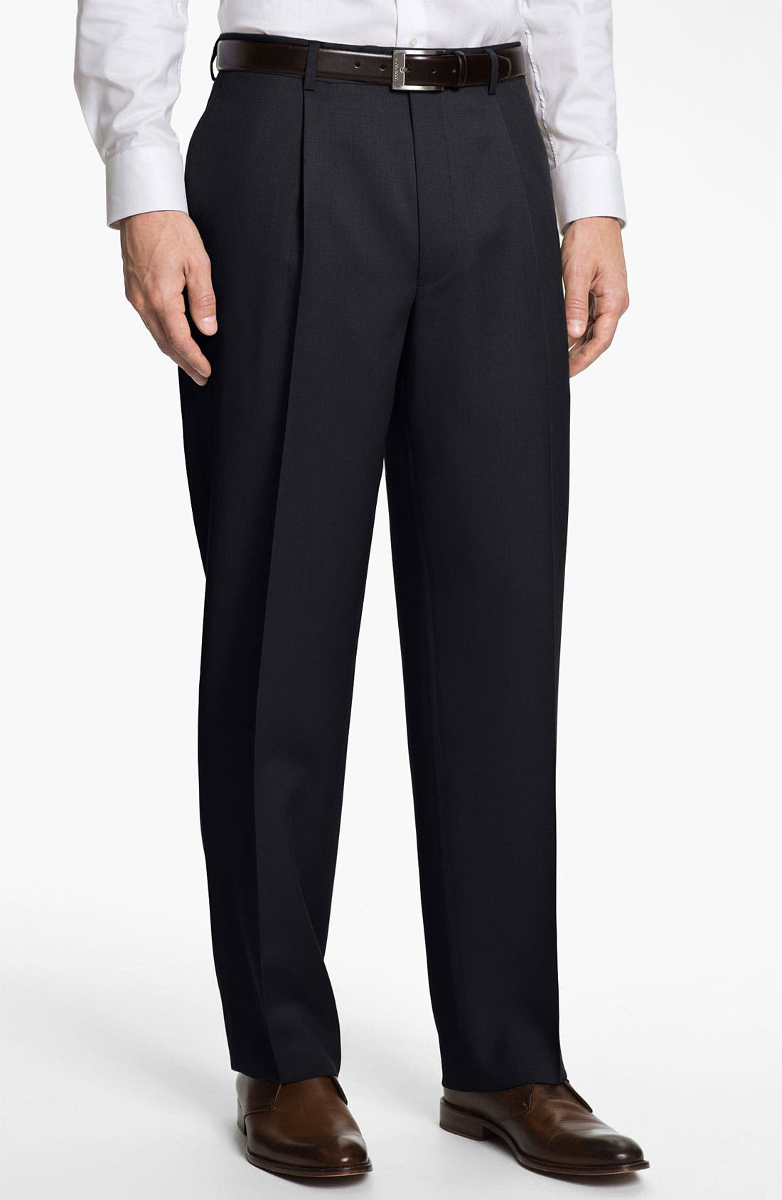 Alternate Image 1 Selected - Nordstrom Pleated Wool Trousers (Online Only)