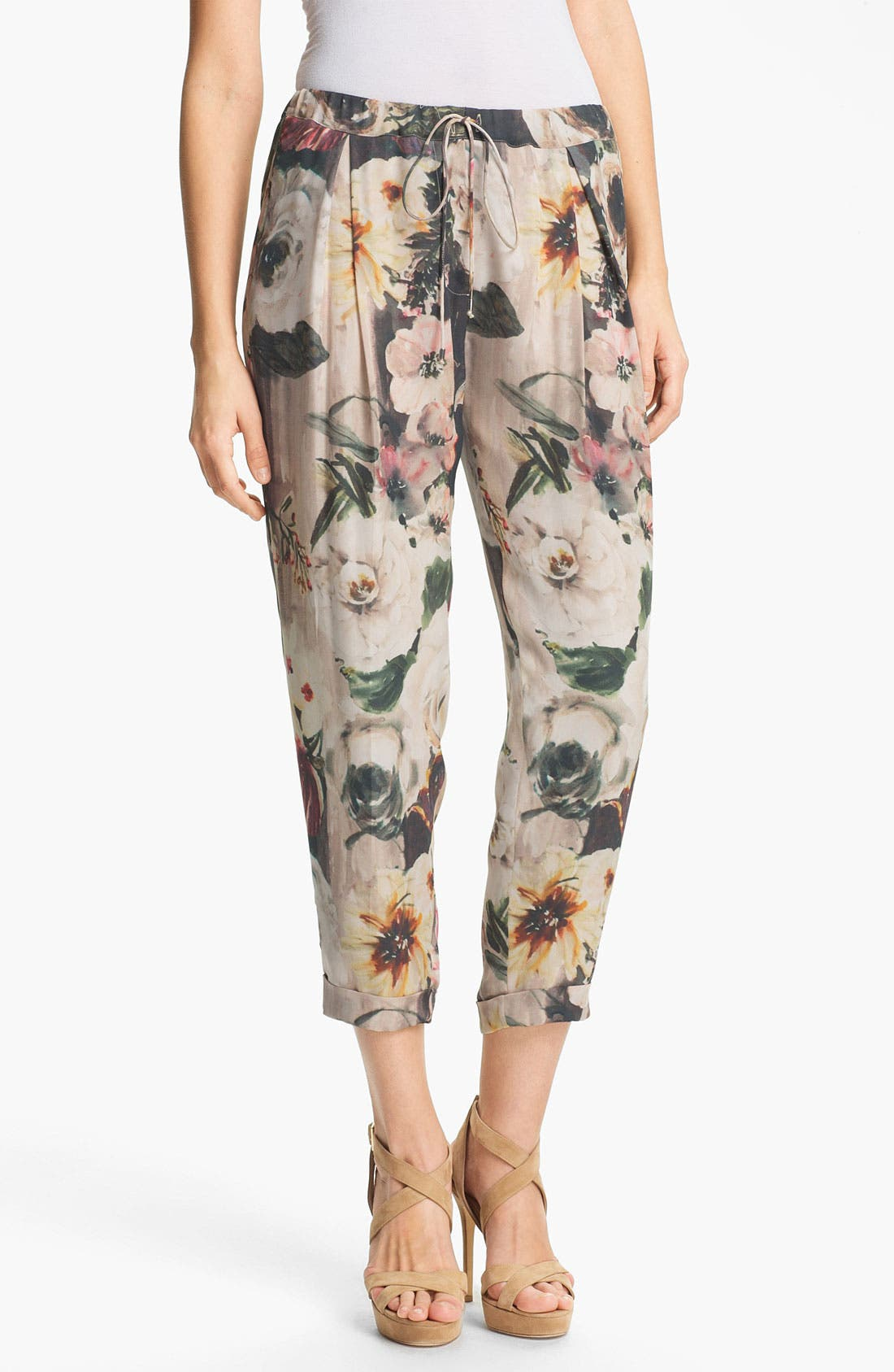 Alternate Image 1 Selected - Haute Hippie Floral Print Drawstring Trousers