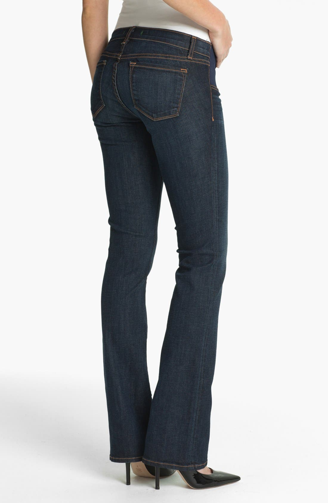 Alternate Image 2  - J Brand Maternity Straight Leg Stretch Jeans (Dark Vintage)