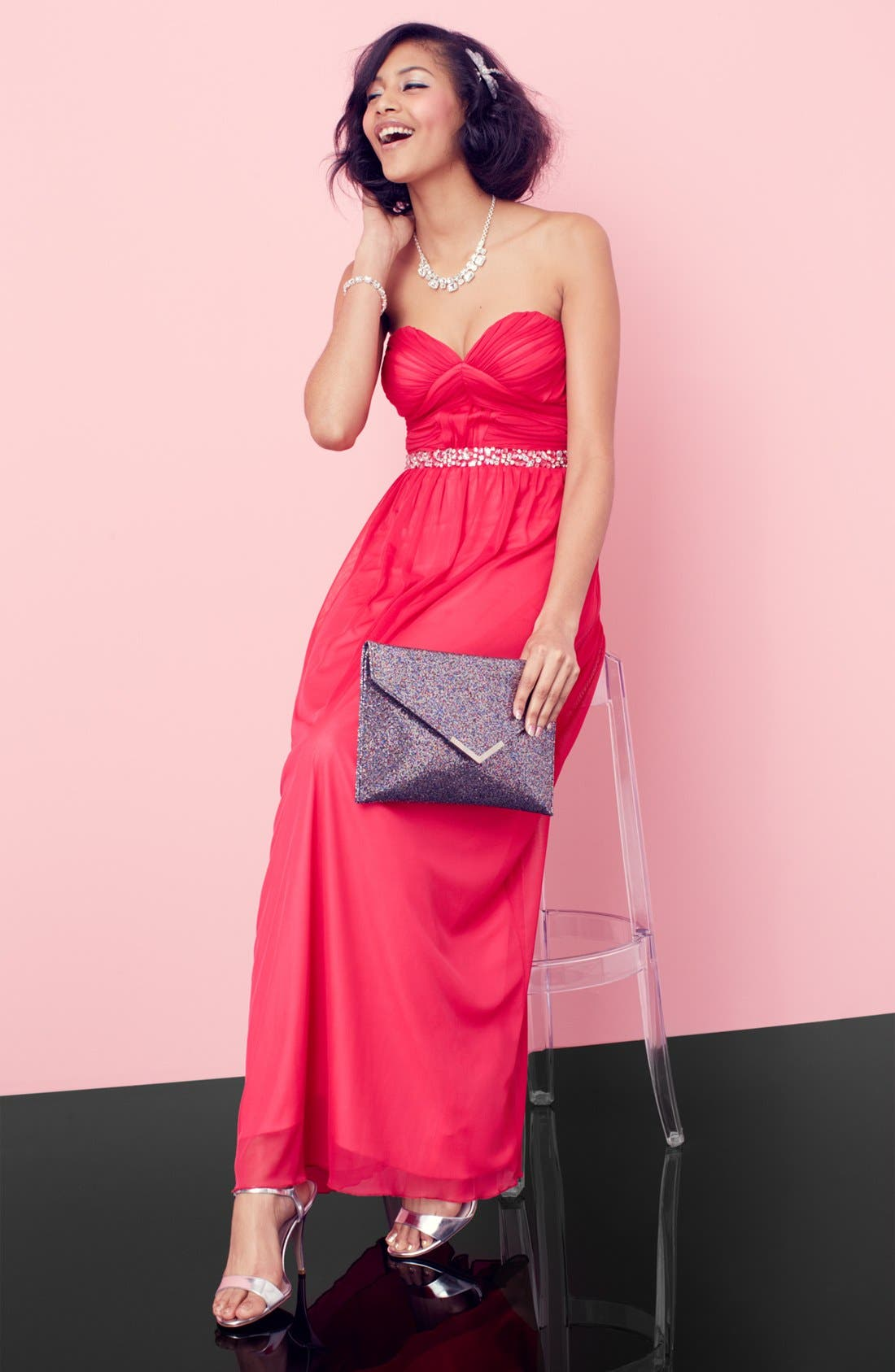 Alternate Image 5  - Way-In Strapless Pleated Chiffon Gown (Juniors)