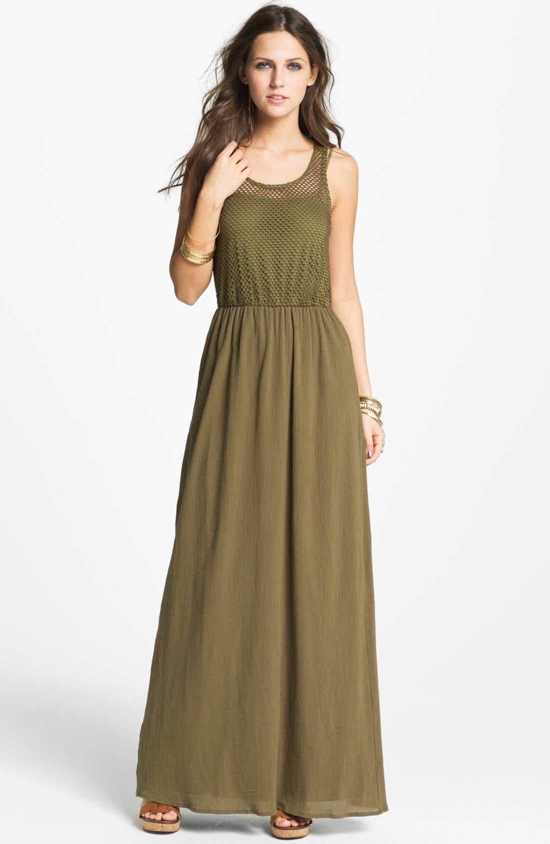 Alternate Image 1 Selected - Way-In Maxi Dress (Juniors)