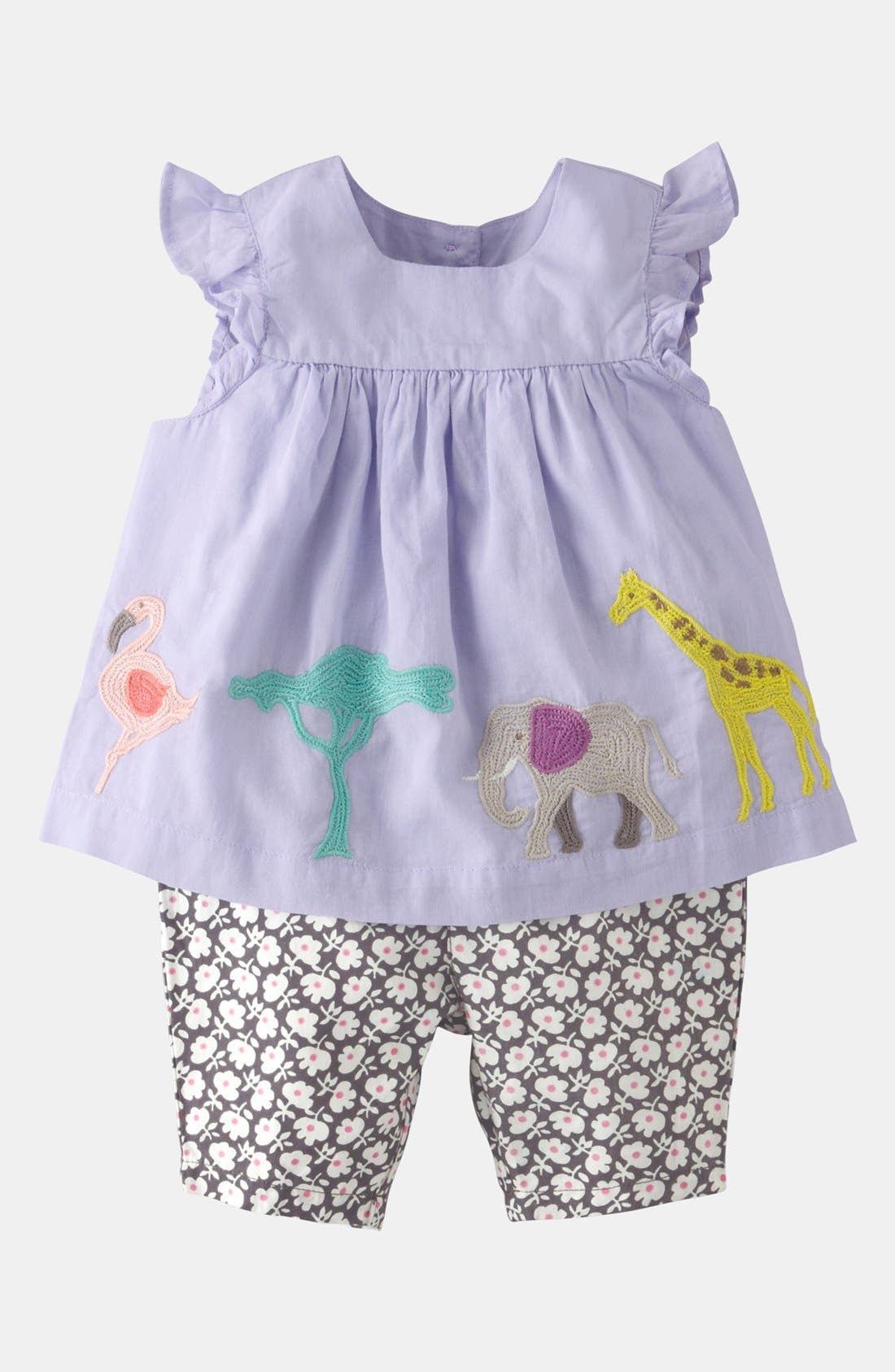 Main Image - Mini Boden 'Summer' Embroidered Top & Leggings (Baby)