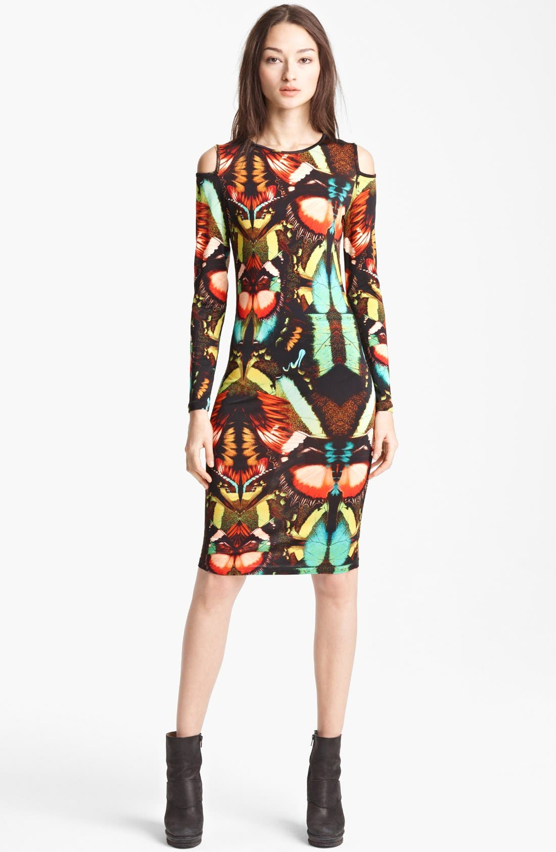 Main Image - Jean Paul Gaultier Fuzzi Butterfly Print Cold Shoulder Dress