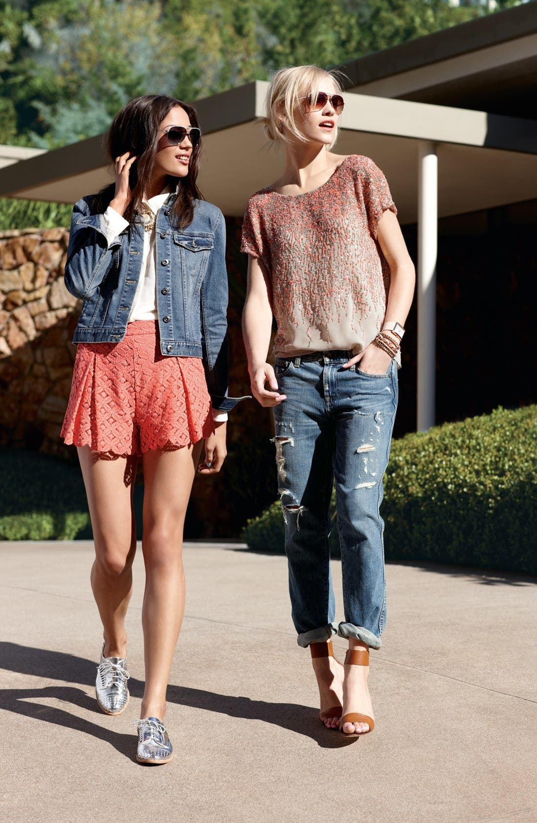 Alternate Image 5  - Two by Vince Camuto Pleated Lace Shorts