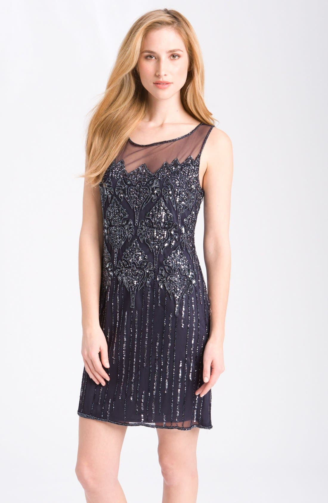 Main Image - Pisarro Nights Beaded Illusion Cocktail Dress