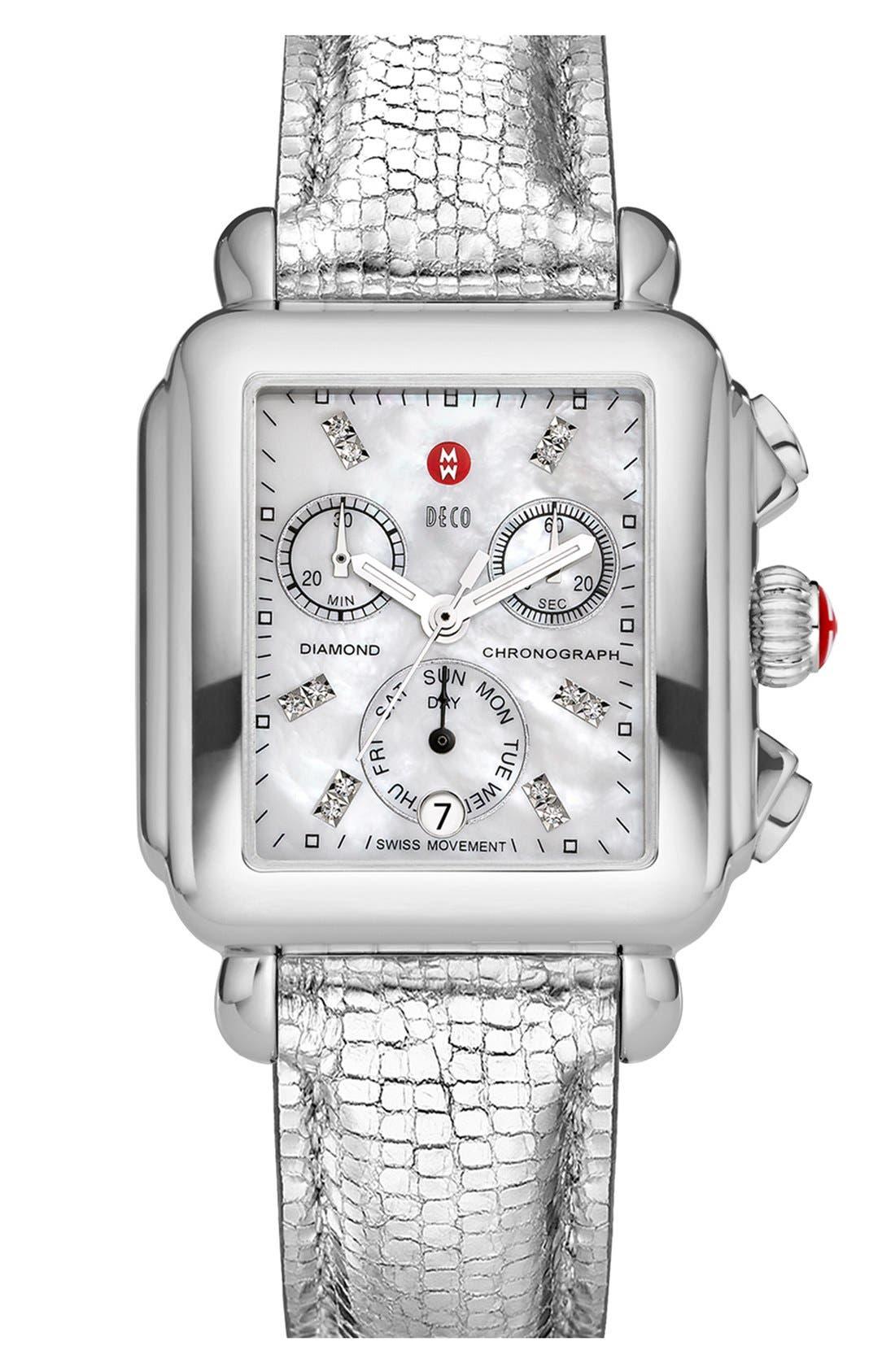 Alternate Image 2  - MICHELE 'Deco' Diamond Dial Customizable Watch
