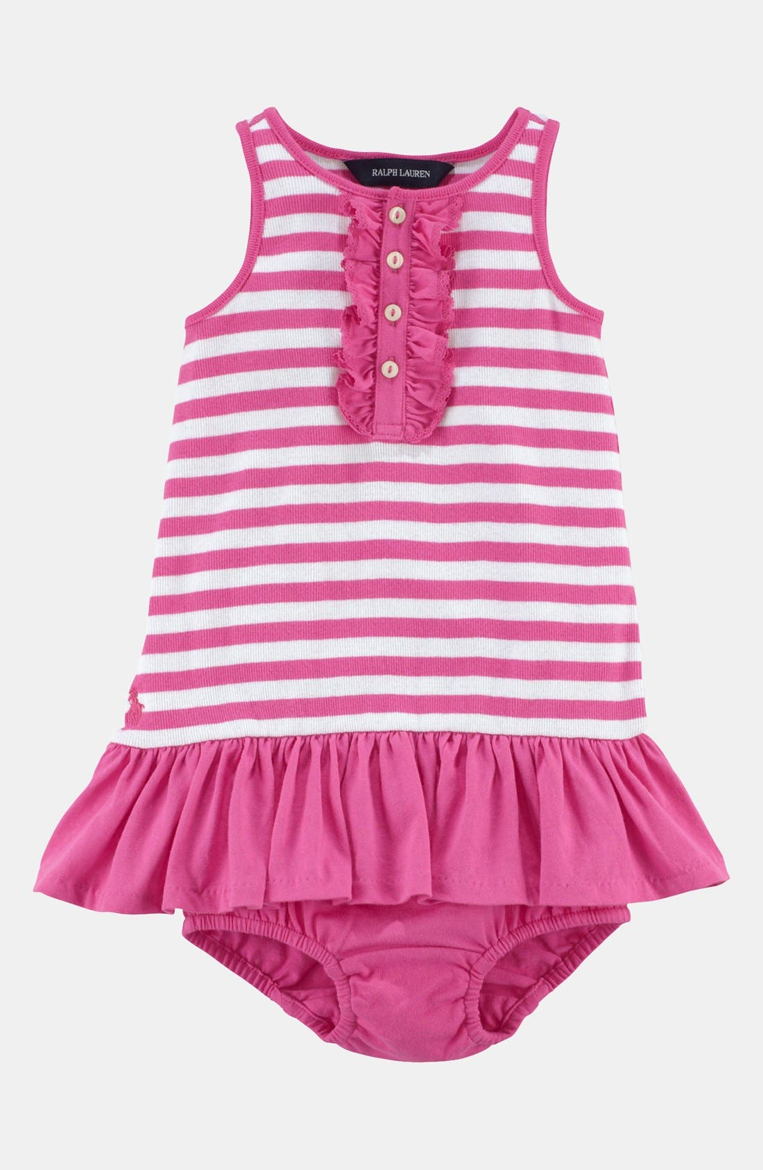 Alternate Image 1 Selected - Ralph Lauren Ruffle Henley Dress & Bloomers (Baby)