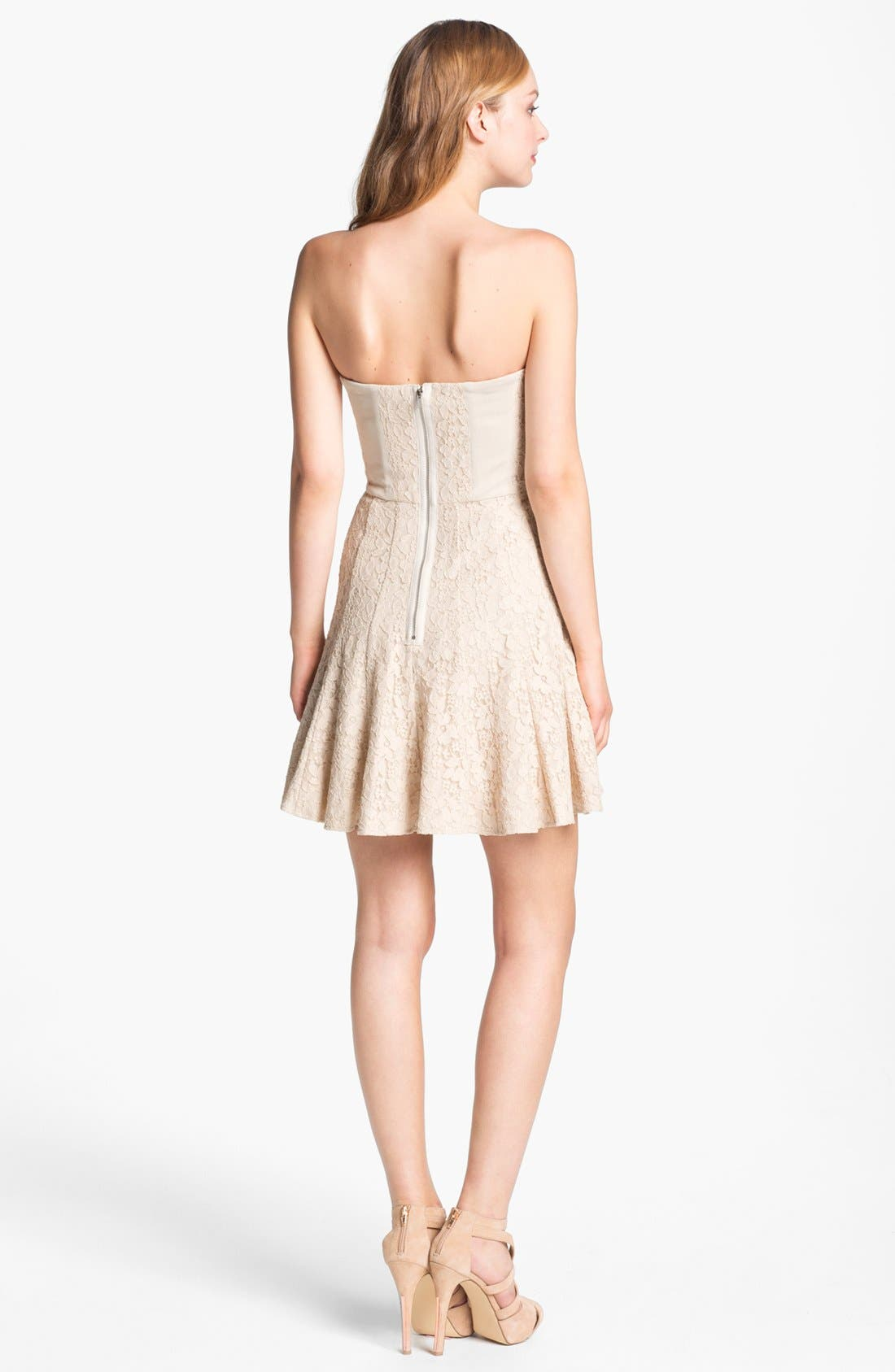 Alternate Image 2  - BCBGMAXAZRIA Strapless Lace Fit & Flare Dress