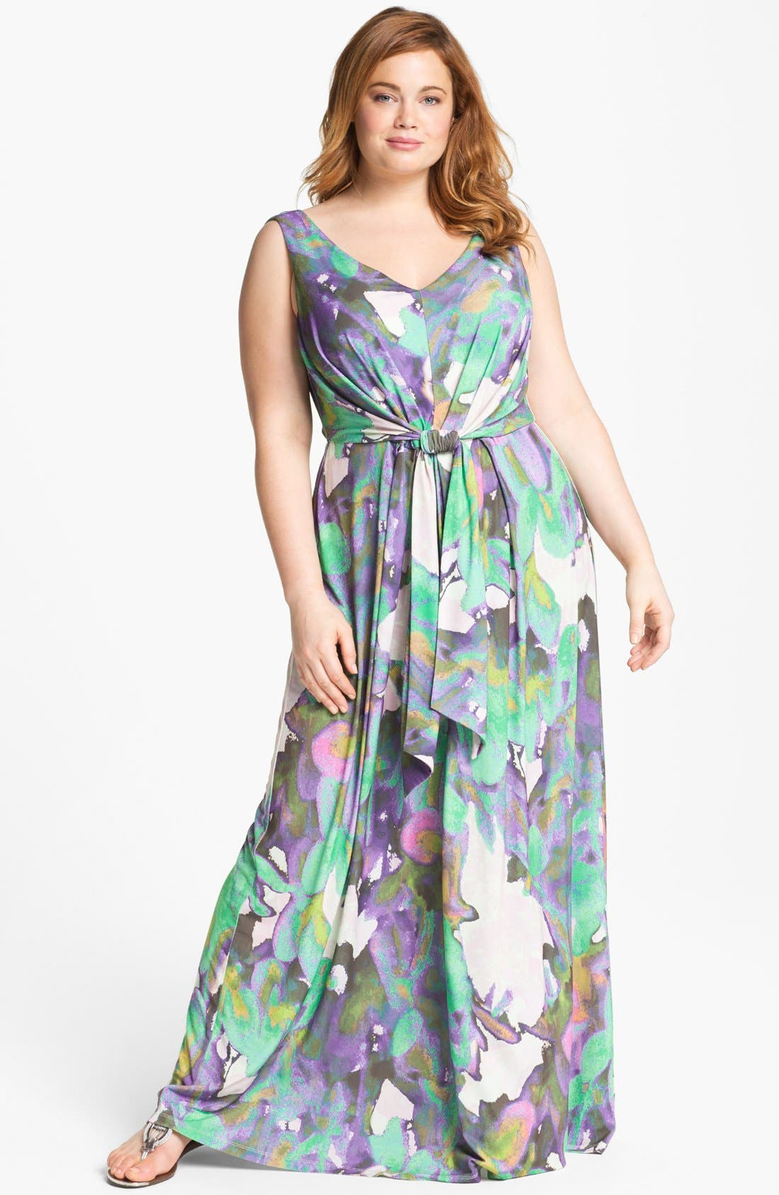Main Image - Suzi Chin for Maggy Boutique Sleeveless Print Maxi Dress (Plus Size)