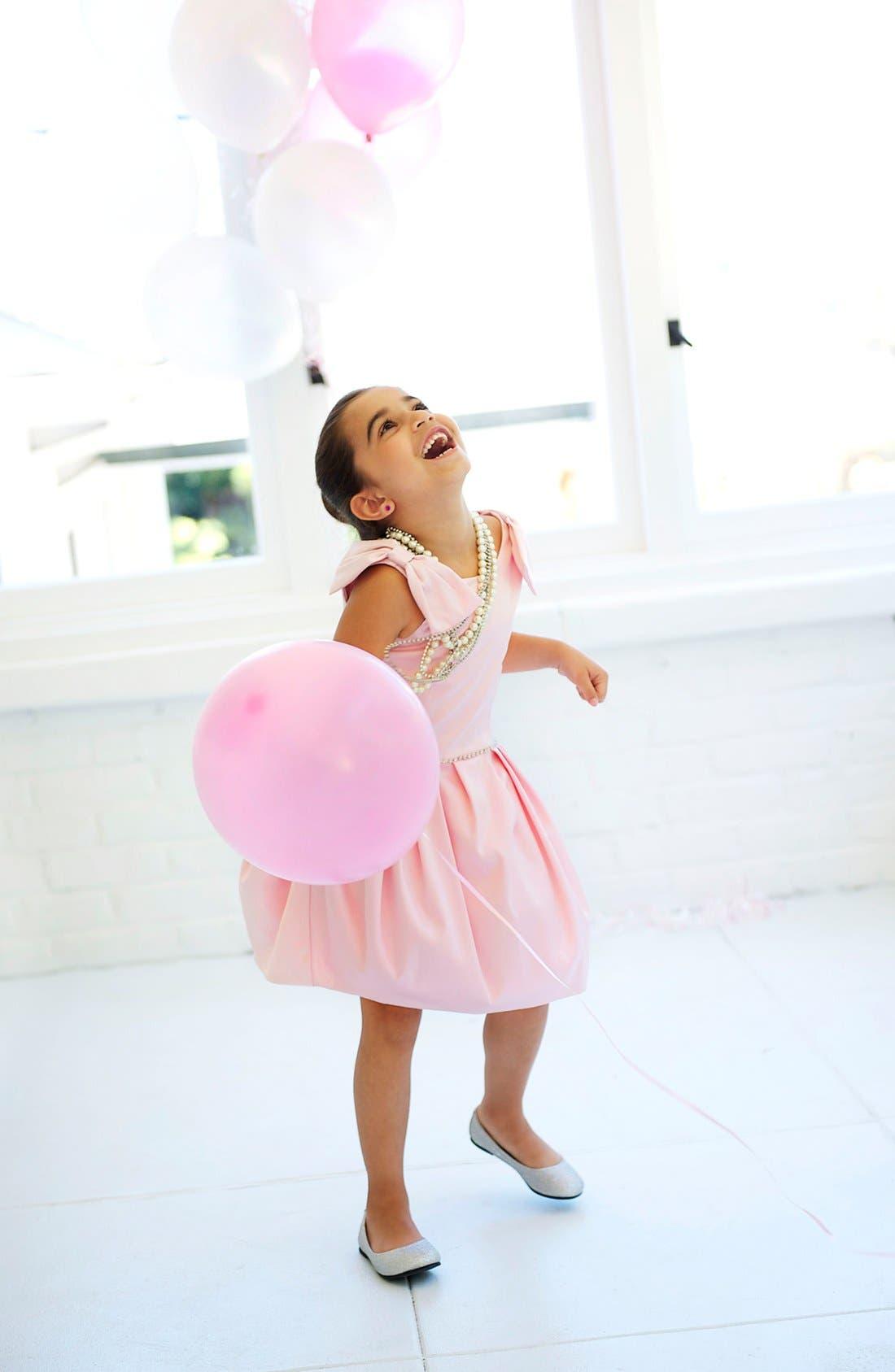 Alternate Image 3  - La Piccola Danza Kidswear Satin Pleated Dress (Little Girls & Big Girls)