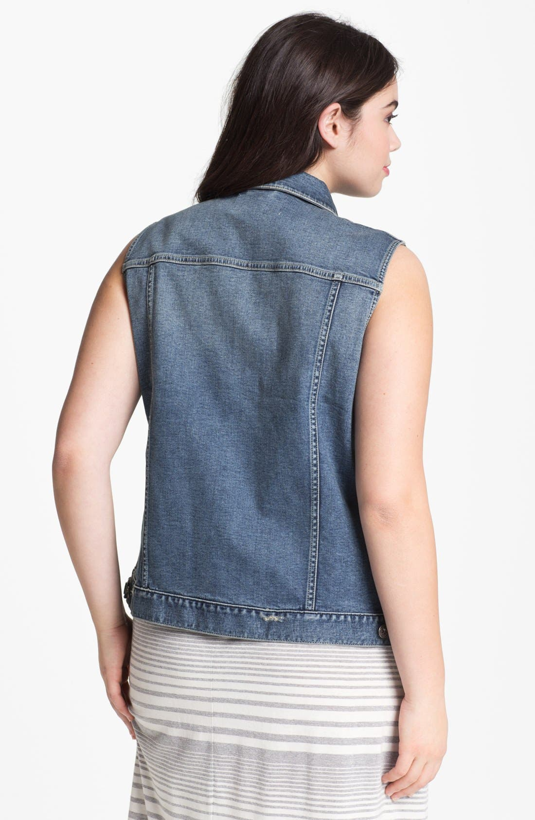 Alternate Image 2  - Two by Vince Camuto Denim Vest (Plus Size)