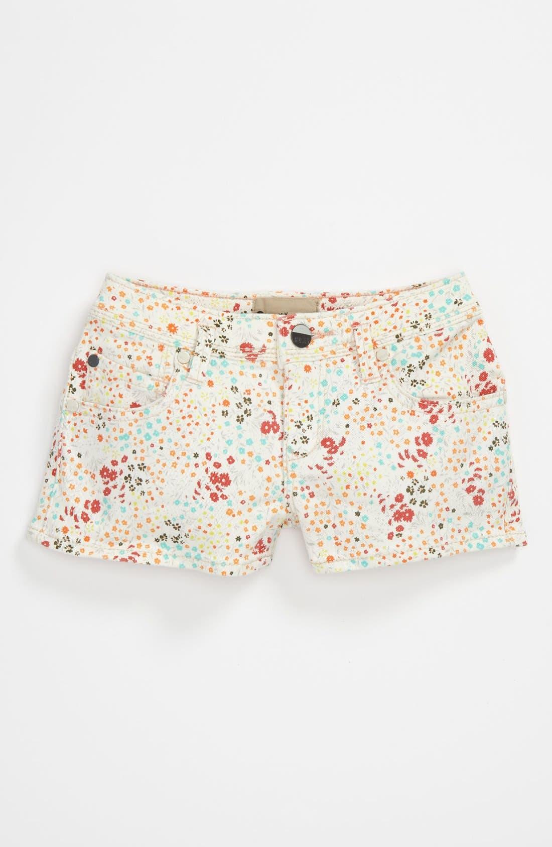 Alternate Image 2  - 'Festival' Print Denim Shorts (Big Girls)