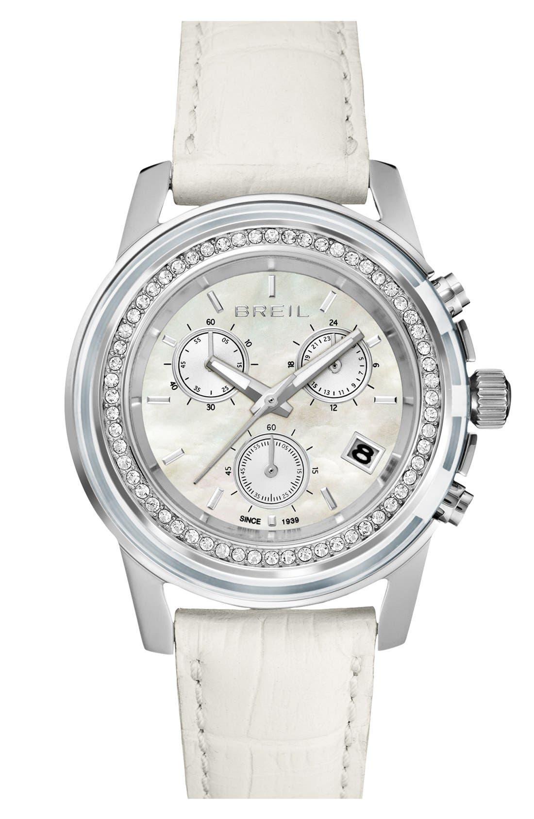 Alternate Image 1 Selected - Breil 'Orchestra' Crystal Bezel Chronograph Watch, 37mm ($375 Value)
