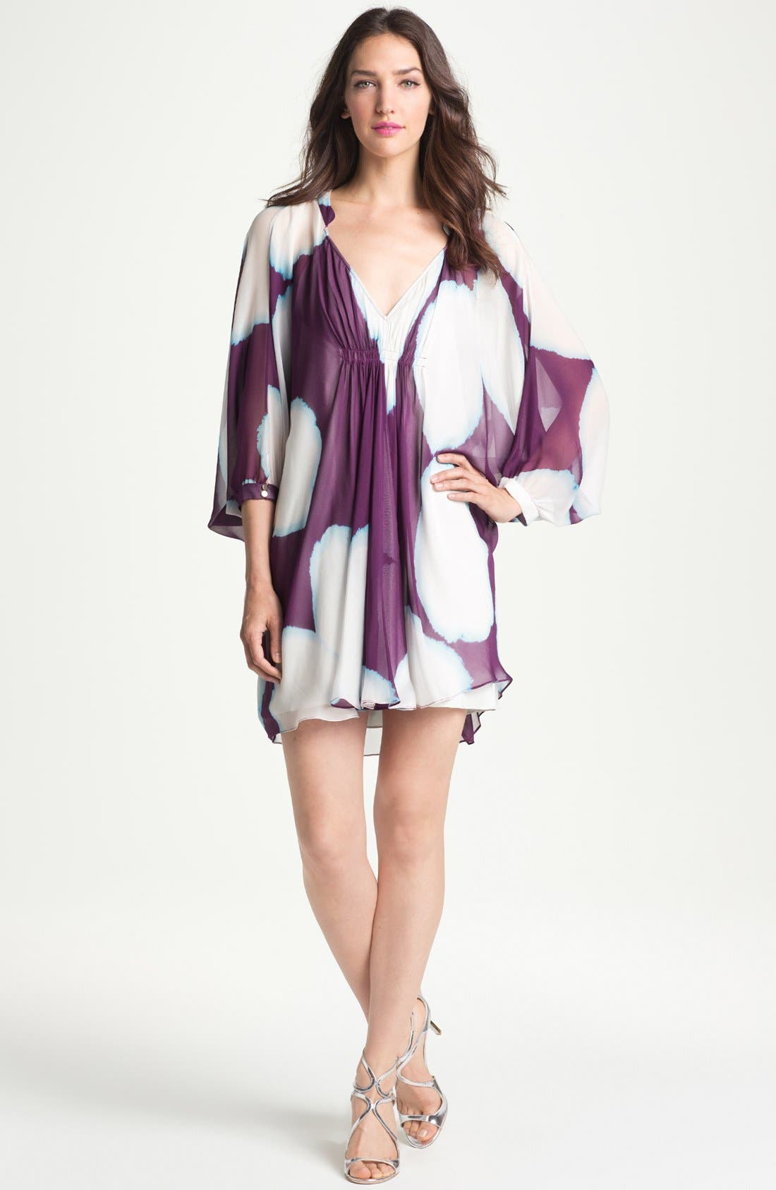 Main Image - Diane von Furstenberg 'Fleurette' Print Silk Caftan Dress